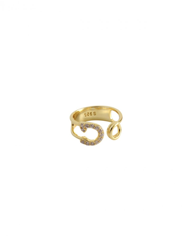 SAFETY PIN Gold Pinky Ring