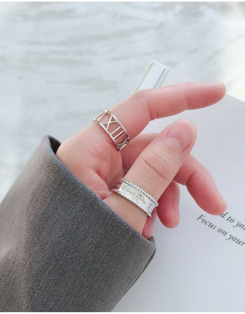 SMILE Sterling Silver Boyfriend Stacker Ring