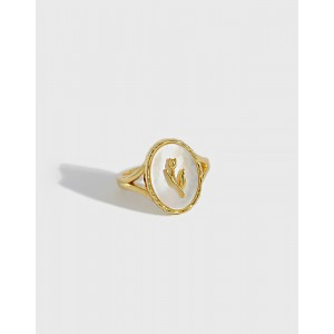 TULIP Gold Vermeil Nacre Ring
