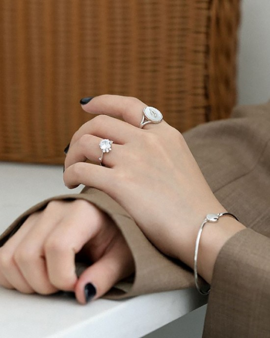 TULIP Sterling Silver Nacre Ring
