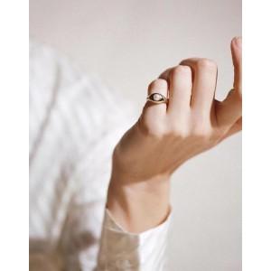 YULIA Silver Pearl Demi Signet Ring